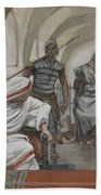 Jesus Led From Herod To Pilate Beach Towel by Tissot