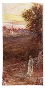 Jesus On The Mount Of Olives Beach Towel by William Brassey Hole