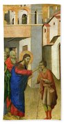 Jesus Opens The Eyes Of A Man Born Blind Beach Towel by Duccio di Buoninsegna