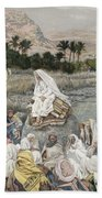 Jesus Preaching By The Seashore Beach Towel by Tissot