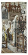 Jesus Unrolls The Book In The Synagogue Beach Towel