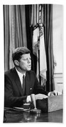 Jfk Addresses The Nation  Beach Towel by War Is Hell Store