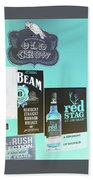 Jim Beam's Old Crow And Red Stag Signs - Color Invert Beach Towel