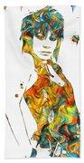 Joan Jett Colorful Paint Splatter Beach Sheet