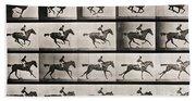 Jockey On A Galloping Horse Beach Sheet