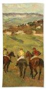 Jockeys On Horseback Before Distant Hills Beach Towel by Edgar Degas