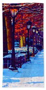 Jogging In The Snow Along Boathouse Row Beach Towel