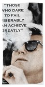 John F Kennedy Cigar And Sunglasses 3 And Quote Beach Towel