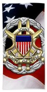 Joint Chiefs Of Staff - J C S Identification Badge Over U. S. Flag Beach Towel