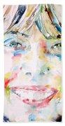 Joni Mitchell - Watercolor Portrait Beach Towel