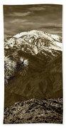 Joshua Tree At Keys View In Sepia Tone Beach Towel