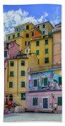 Joy In Colorful House In Piazza Di Riomaggiore, Cinque Terre, Italy Beach Towel