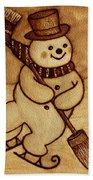 Joyful Snowman  Coffee Paintings Beach Sheet