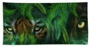 Jungle Eyes - Tiger And Panther Beach Towel