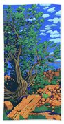 Juniper Trees And Deer Beach Towel