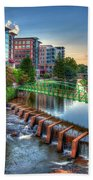 Just Before Sunset 2 Reedy River Falls Park Greenville South Carolina Art Beach Towel
