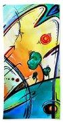 Just Having Fun Original Pop Art Abstract Painting By Madart Beach Towel