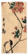 Kaido Ni Shokin IIi - Small Bird On A Branch Of Kaidozakura IIi Beach Towel