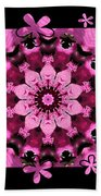 Kaleidoscope 1 With Black Flower Framing Beach Towel