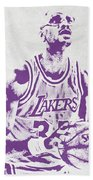Kareem Abdul Jabbar Los Angeles Lakers Pixel Art Beach Towel