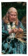 Kashia Pomo Woman Weaving Basket Beach Towel