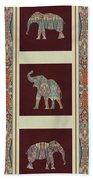 Kashmir Elephants - Vintage Style Patterned Tribal Boho Chic Art Beach Towel