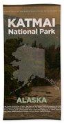 Katmai National Park In Alaska Travel Poster Series Of National Parks Number 34 Beach Towel