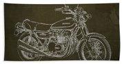 Kawasaki Motorcycle Blueprint, Mid Century Brown Art Print Beach Towel