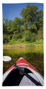 Kayak On A Forested Lake Beach Towel