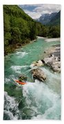 Kayaker Shooting The Cold Emerald Green Alpine Water Of The Uppe Beach Towel