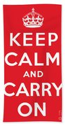 Keep Calm And Carry On Beach Towel by English School
