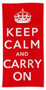 Keep Calm And Carry On Beach Towel