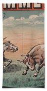 Kemmerich - Bull - Lasso - Old Poster - Vintage - Wall Art - Art Print - Cowboy - Horse  Beach Towel