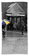 Kendall Square Rainy Day Cambridge Ma Blue And Yellow Beach Towel