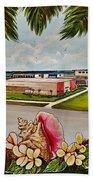 Key West High School From The 60's Era Beach Towel