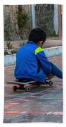 Kid Skateboarding Beach Towel