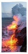 Kilauea Volcano Lava Flow Sea Entry 3- The Big Island Hawaii Beach Sheet