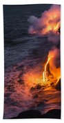 Kilauea Volcano Lava Flow Sea Entry 6 - The Big Island Hawaii Beach Towel