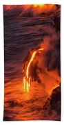 Kilauea Volcano Lava Flow Sea Entry - The Big Island Hawaii Beach Towel