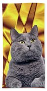 King Kitty With Golden Eyes Beach Towel