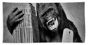King Kong Selfie B W  Beach Towel