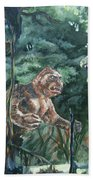King Kong Vs T-rex Beach Towel
