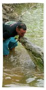 Kissing A Crocodile Beach Towel