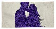 Kissing Couple Silhouette Ultraviolet Beach Towel