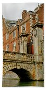 Kitchen Or Wren Bridge And St. Johns College From The Backs. Cambridge. Beach Towel