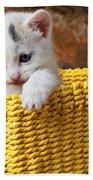 Kitten In Yellow Basket Beach Towel by Garry Gay
