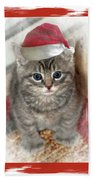 Kitten Playing Santa  Beach Towel