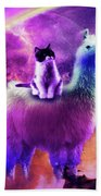 Kitty Cat Riding On Rainbow Llama In Space Beach Towel