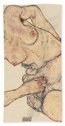 Kneider Weiblicher Halbakt Beach Towel by Egon Schiele