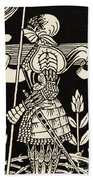 Knight Of Arthur, Preparing To Go Into Battle, Illustration From Le Morte D'arthur By Thomas Malory Beach Towel